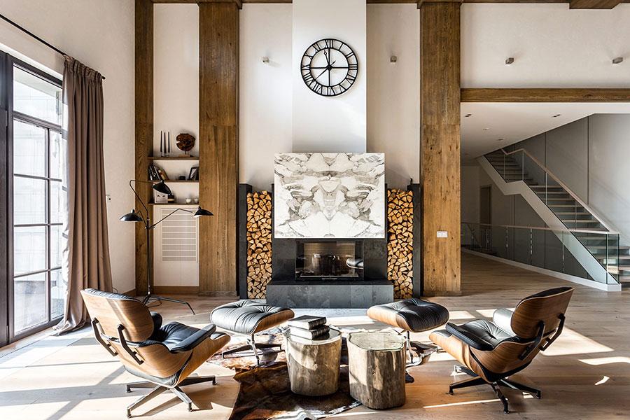 Idee per arredare un soggiorno in stile rustico moderno n.04
