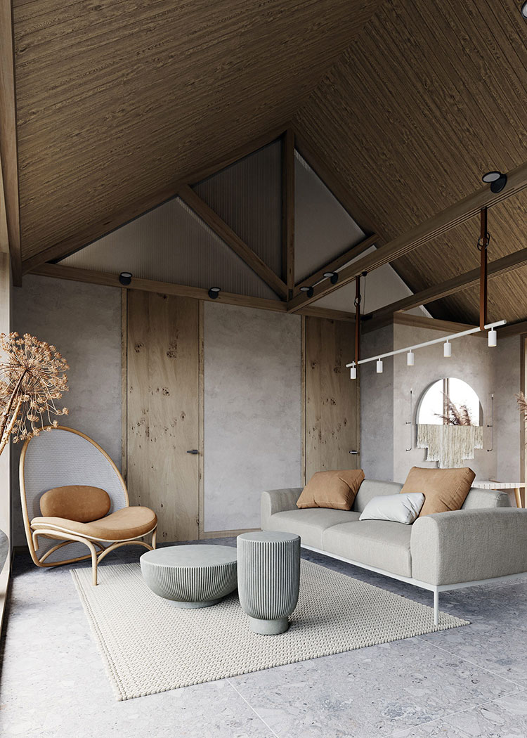 Idee per arredare un soggiorno in stile rustico moderno n.05