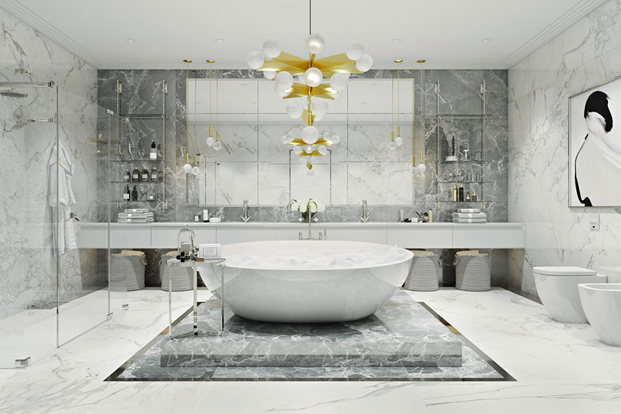 Idee per arredare un bagno bianco e grigio n.01