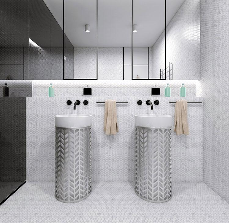 Idee per arredare un bagno bianco e grigio n.03