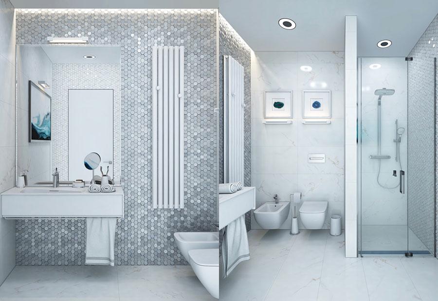 Idee per arredare un bagno bianco e grigio n.04