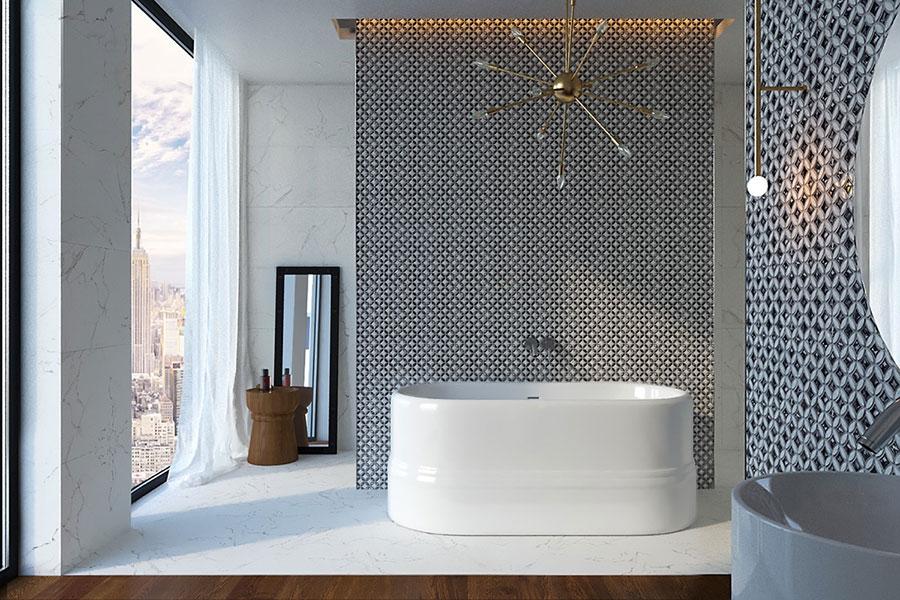 Idee per arredare un bagno bianco e grigio n.05