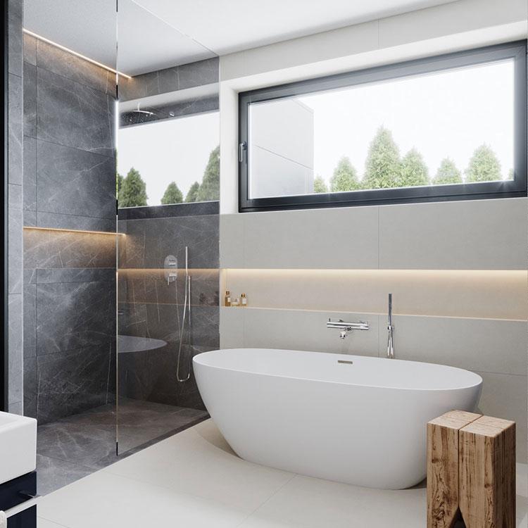 Idee per arredare un bagno bianco e grigio n.06