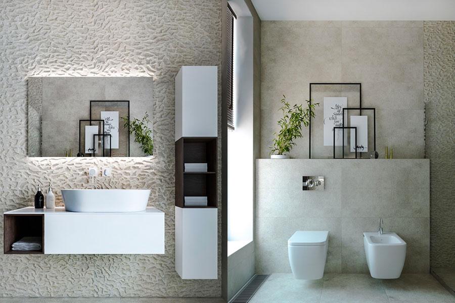 Idee per arredare un bagno bianco e grigio n.07
