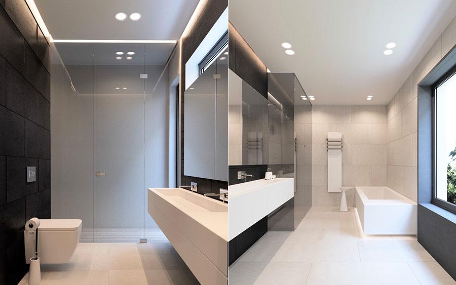 Idee per arredare un bagno bianco e grigio n.08