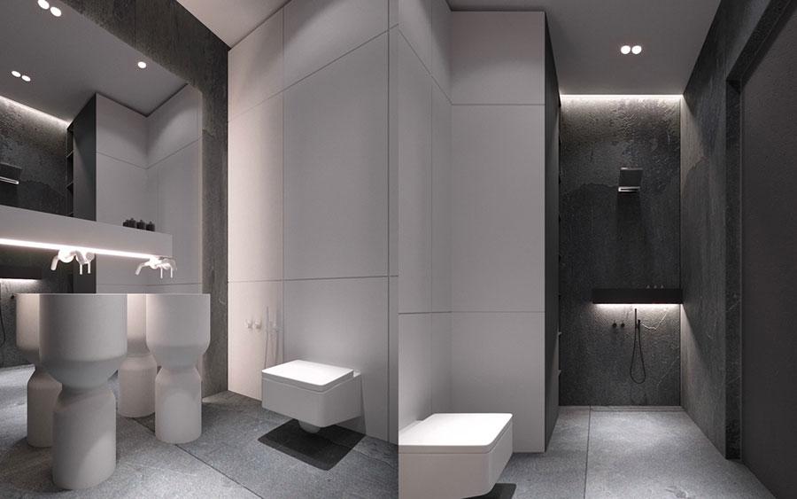 Idee per arredare un bagno bianco e grigio n.09