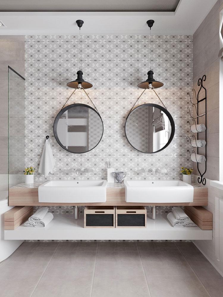 Idee per arredare un bagno bianco e grigio n.10
