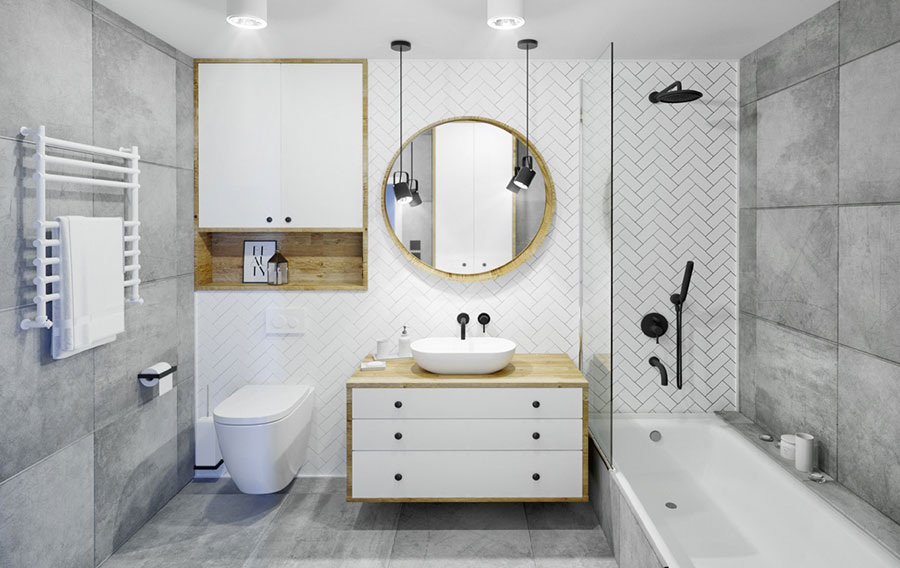 Idee per arredare un bagno bianco e grigio n.11