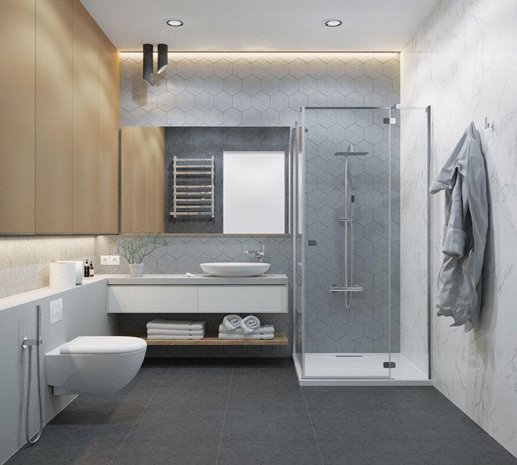 Idee per arredare un bagno bianco e grigio n.12