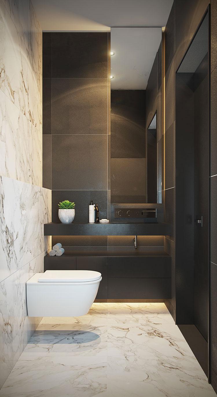 Idee per arredare un bagno bianco e grigio n.14