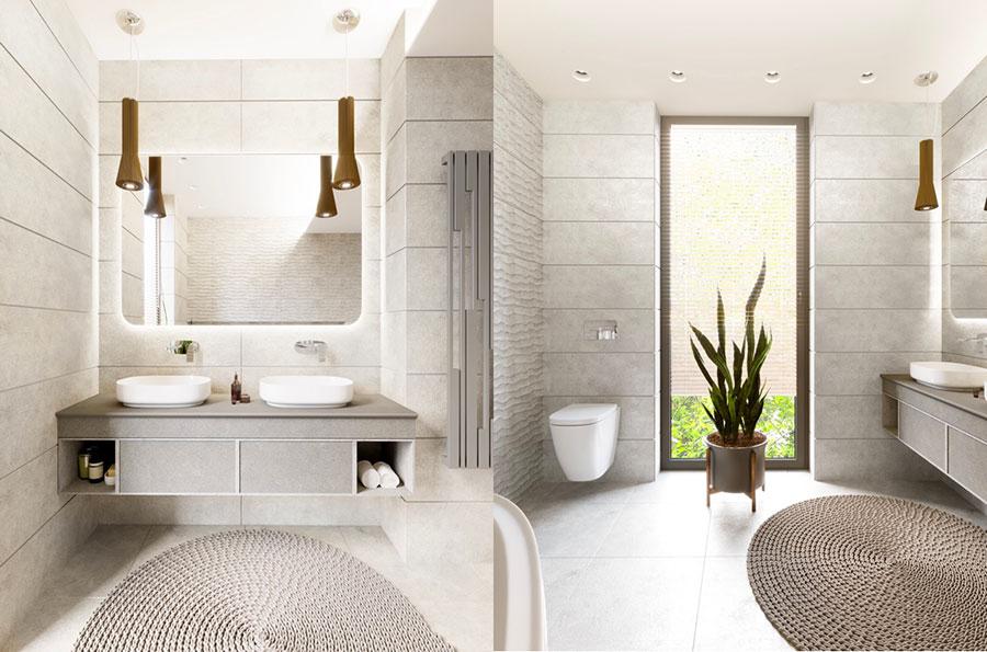 Idee per arredare un bagno bianco e grigio n.17