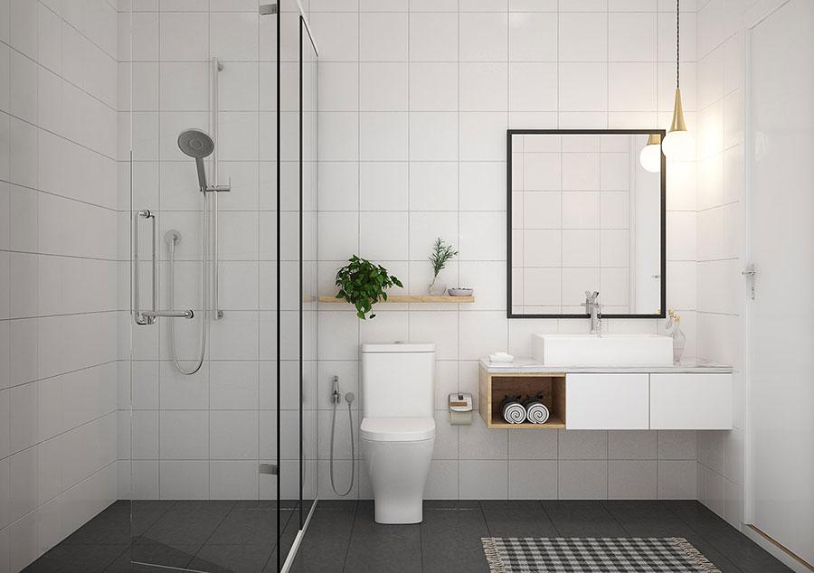 Idee per arredare un bagno bianco e grigio n.18