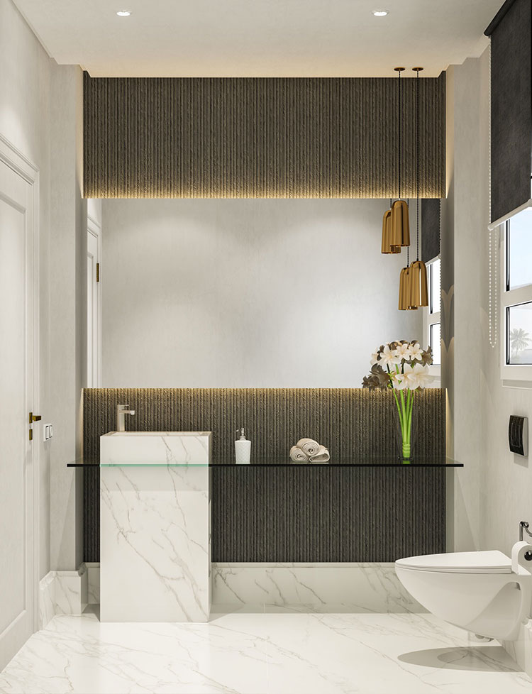 Idee per arredare un bagno bianco e grigio n.19