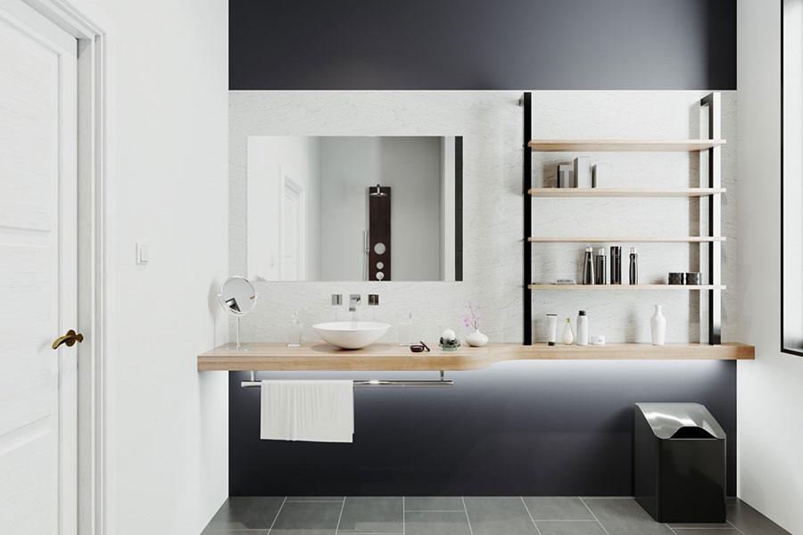Idee per arredare un bagno bianco e grigio n.22