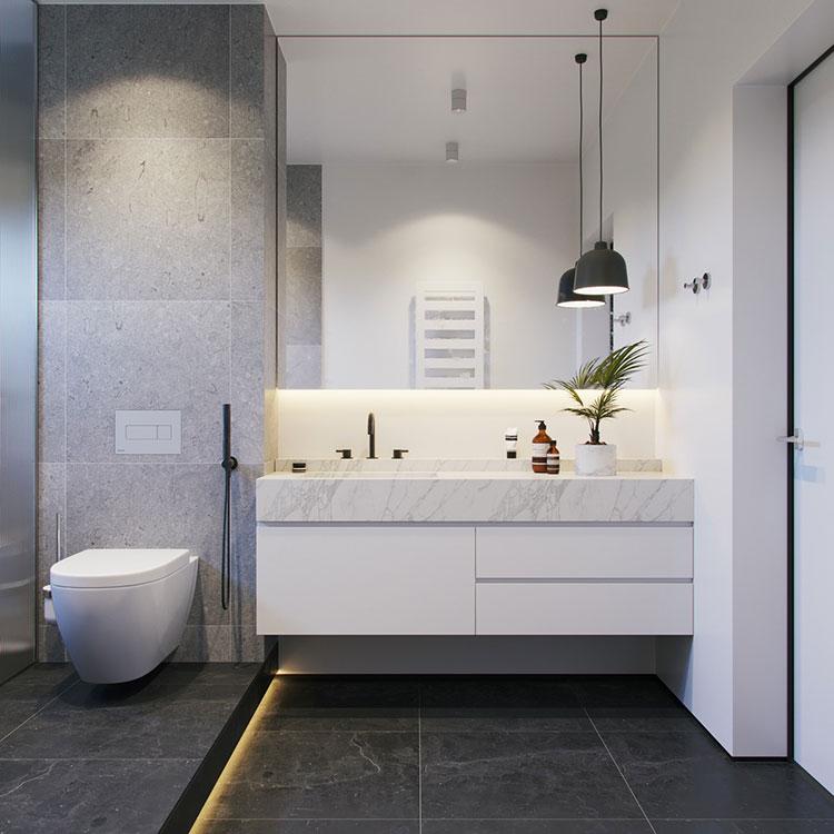Idee per arredare un bagno bianco e grigio n.23