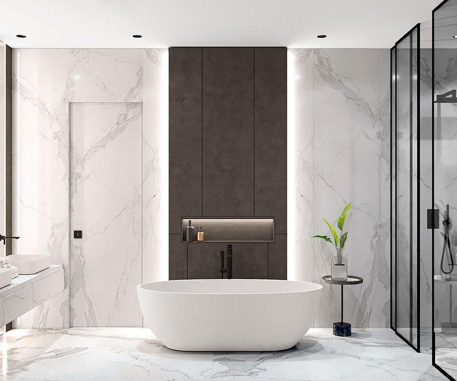 Idee per arredare un bagno bianco e grigio n.25