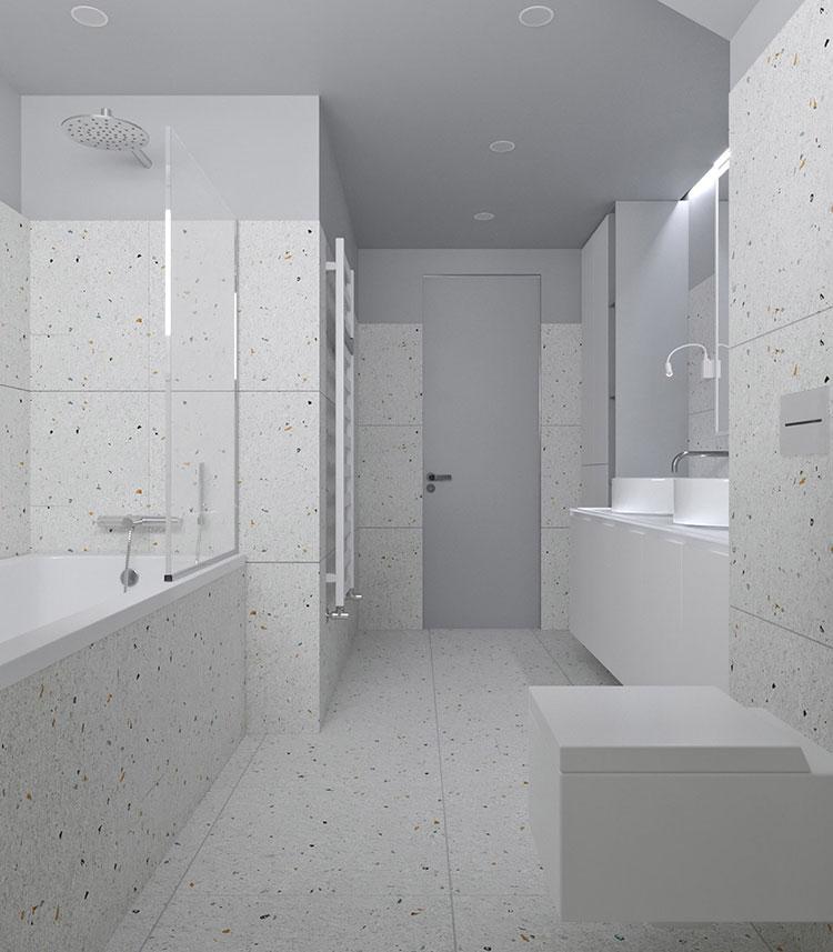 Idee per arredare un bagno bianco e grigio n.26