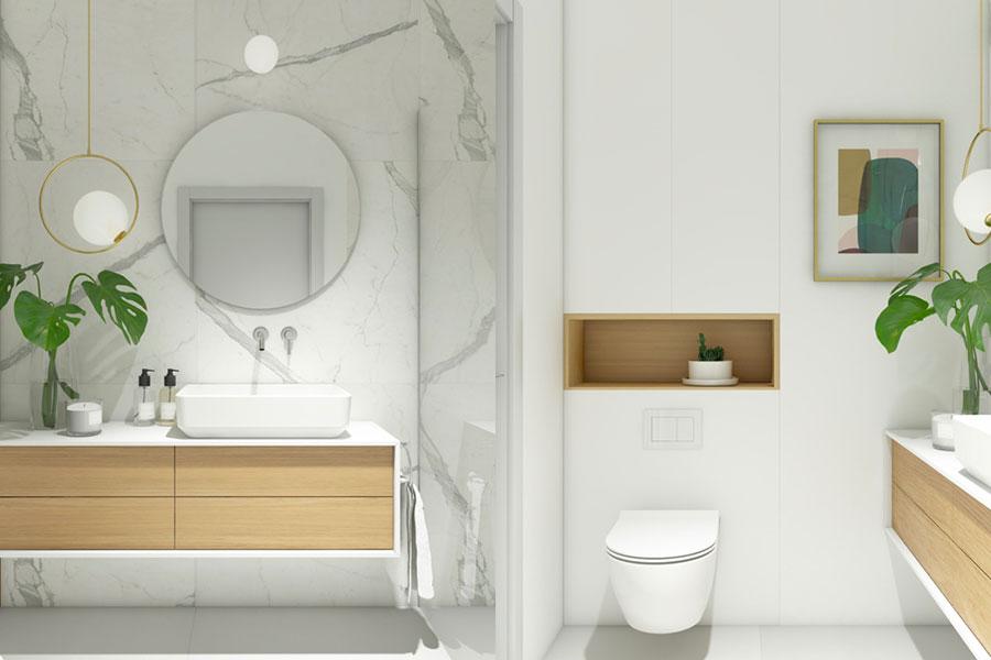 Idee per arredare un bagno bianco e grigio n.27