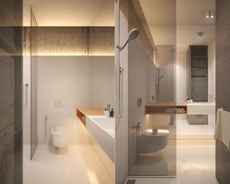 Idee per arredare un bagno bianco e grigio n.28