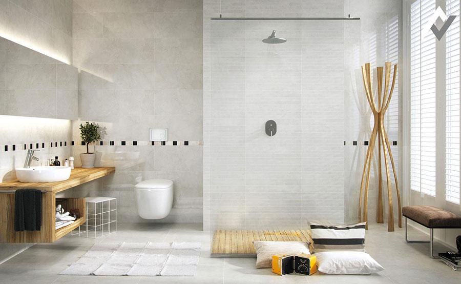 Idee per arredare un bagno bianco e grigio n.29