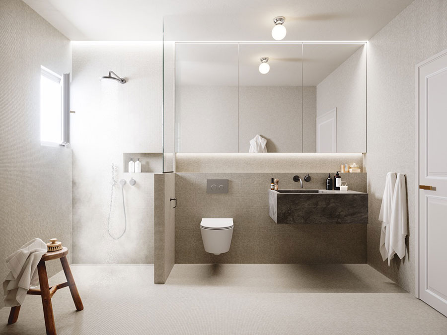 Idee per arredare un bagno bianco e grigio n.30