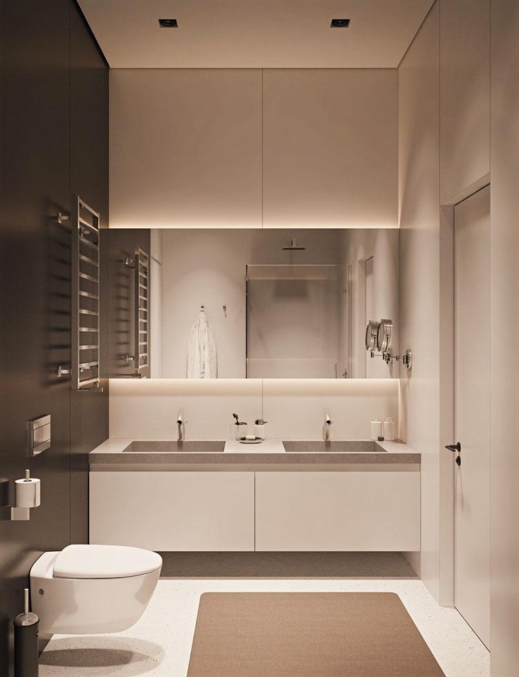 Idee per arredare un bagno bianco e grigio n.31