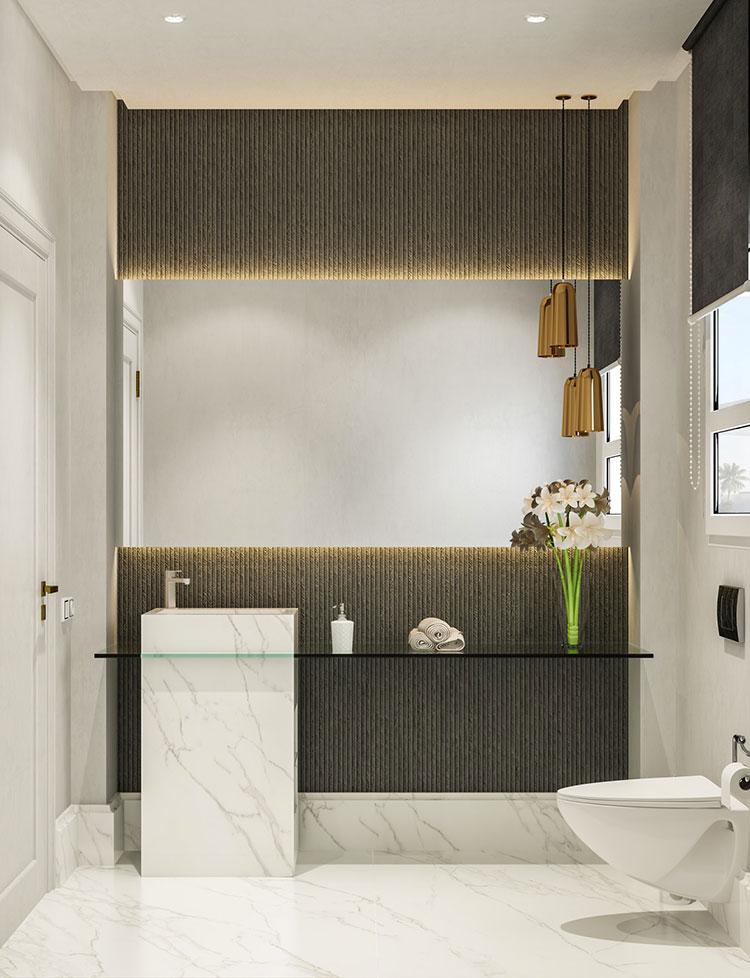 Idee per arredare un bagno bianco e grigio n.32