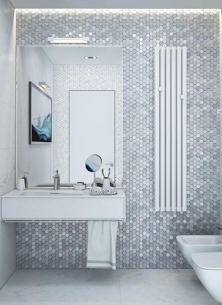 Idee per arredare un bagno bianco e grigio n.33