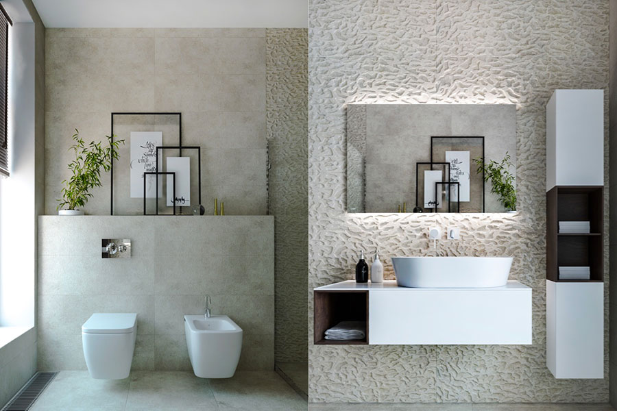 Idee per arredare un bagno bianco e grigio n.34