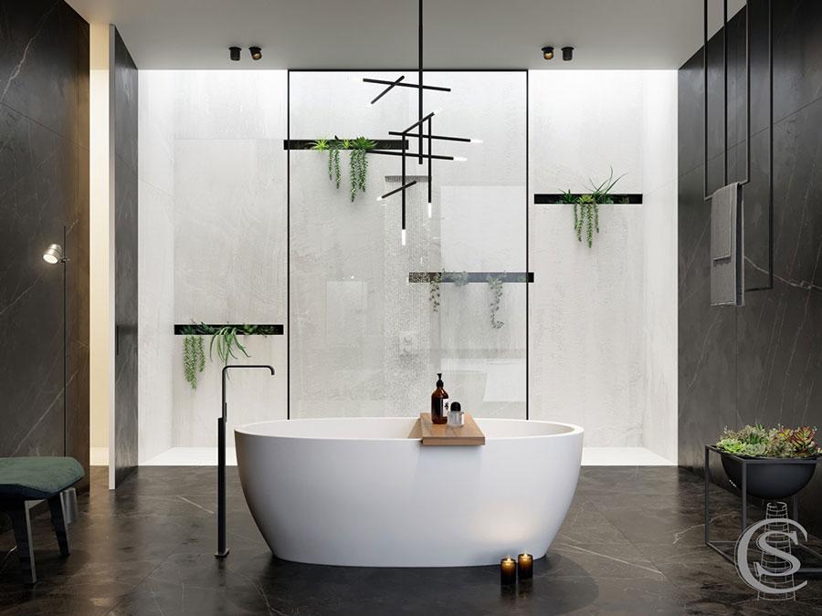 Idee per arredare un bagno bianco e grigio n.35