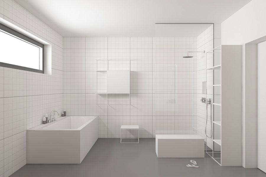 Idee per arredare un bagno bianco e grigio n.37