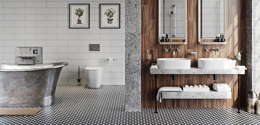Idee per arredare un bagno bianco e grigio n.38