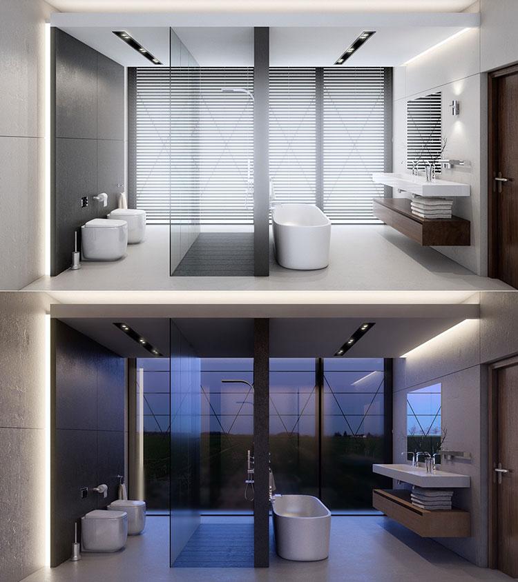 Idee per arredare un bagno bianco e grigio n.39