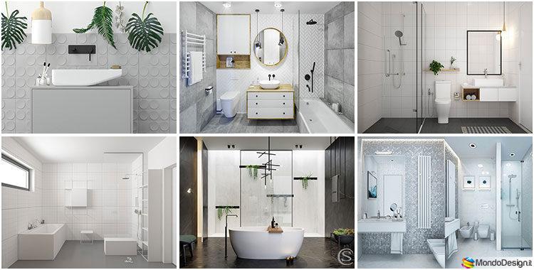 Bagno grigio e bianco ecco 40 idee di arredamento for Arredo bagno idee originali