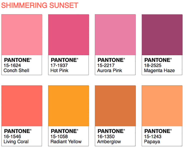 Abbinamenti Pantone 2019 Living Coral Shimmering Sunset