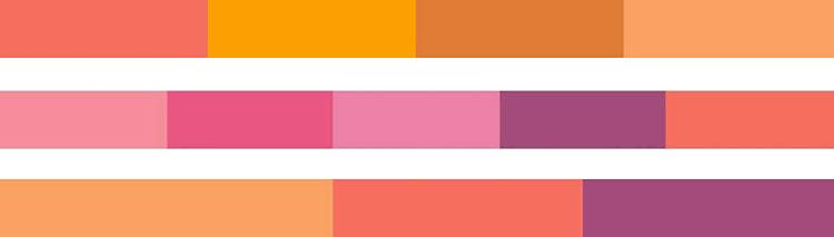 Armonia dei colori Pantone 2019 Living Coral Shimmering Sunset
