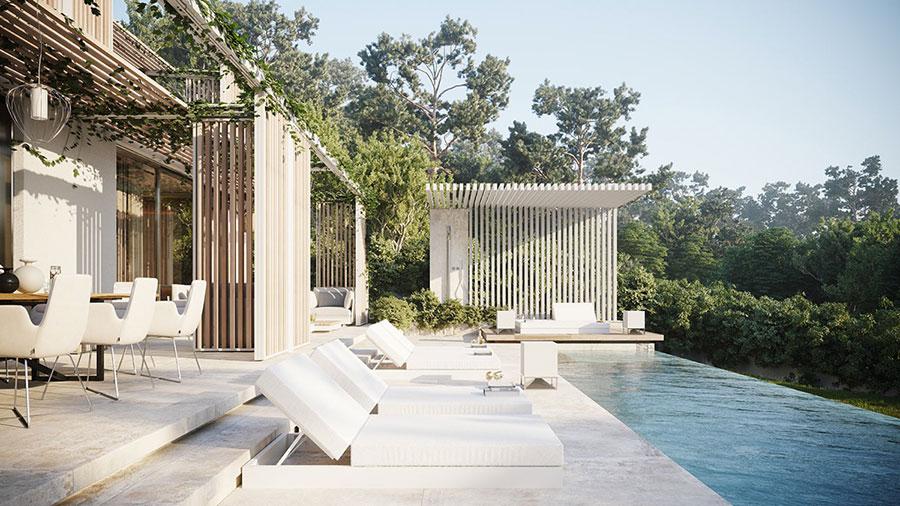 Foto della casa da sogno con interni di lusso in legno e pietra n.04