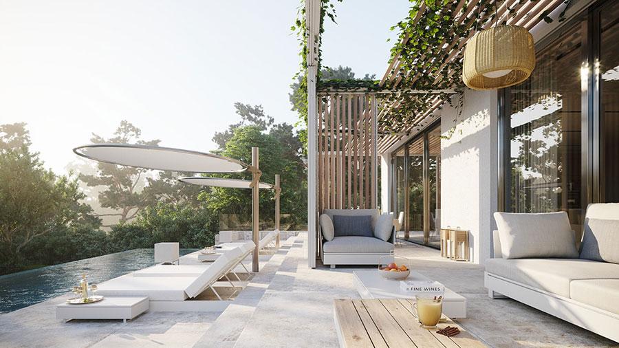 Foto della casa da sogno con interni di lusso in legno e pietra n.06