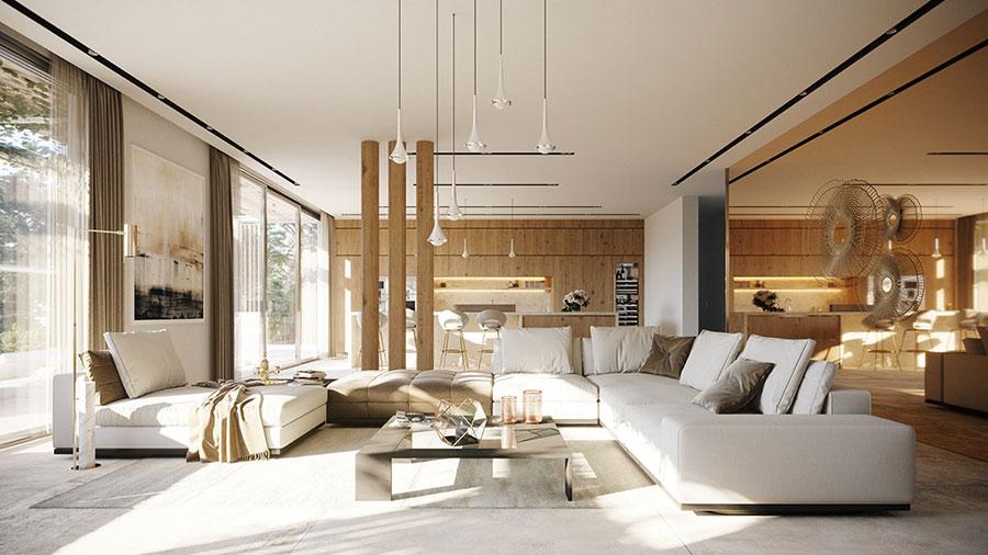 Foto della casa da sogno con interni di lusso in legno e pietra n.07