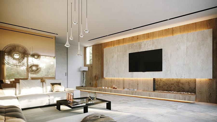 Foto della casa da sogno con interni di lusso in legno e pietra n.08