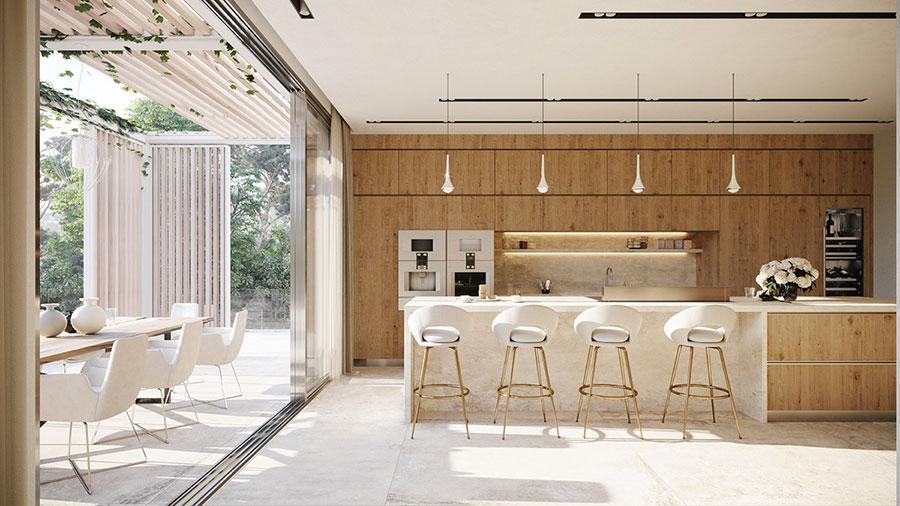Foto della casa da sogno con interni di lusso in legno e pietra n.09