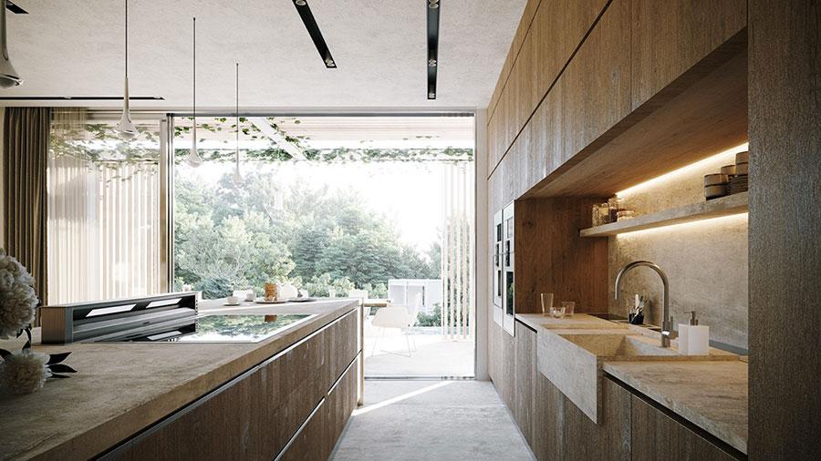 Foto della casa da sogno con interni di lusso in legno e pietra n.10