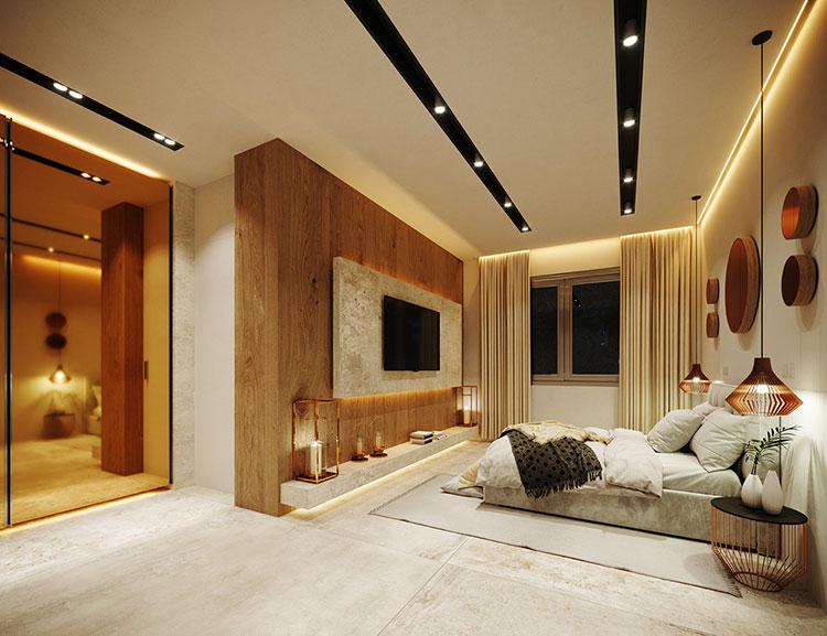 Foto della casa da sogno con interni di lusso in legno e pietra n.12
