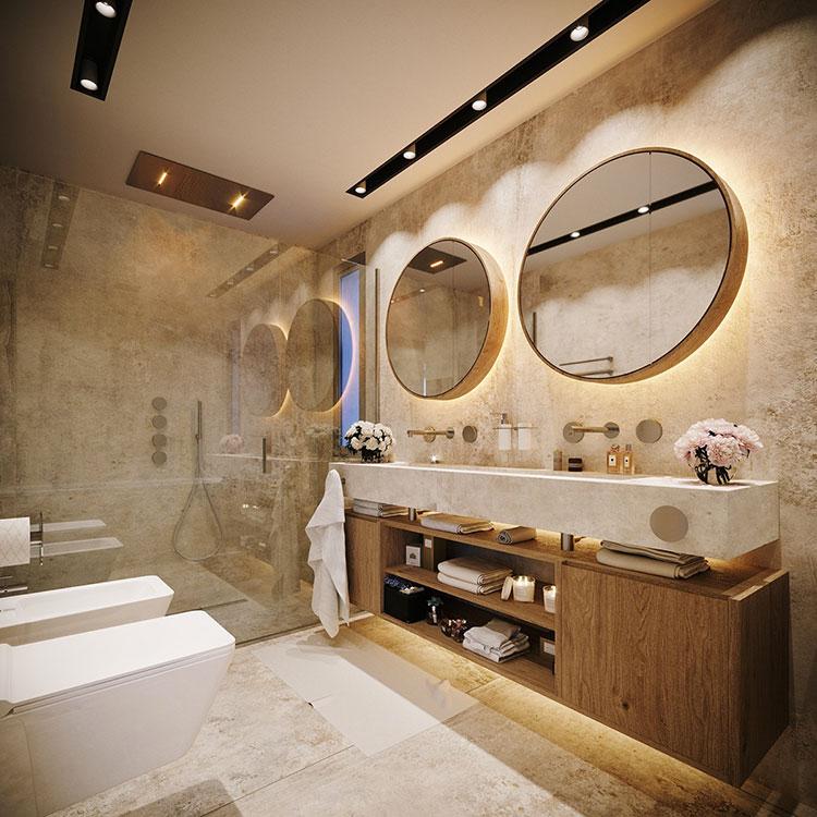 Foto della casa da sogno con interni di lusso in legno e pietra n.14