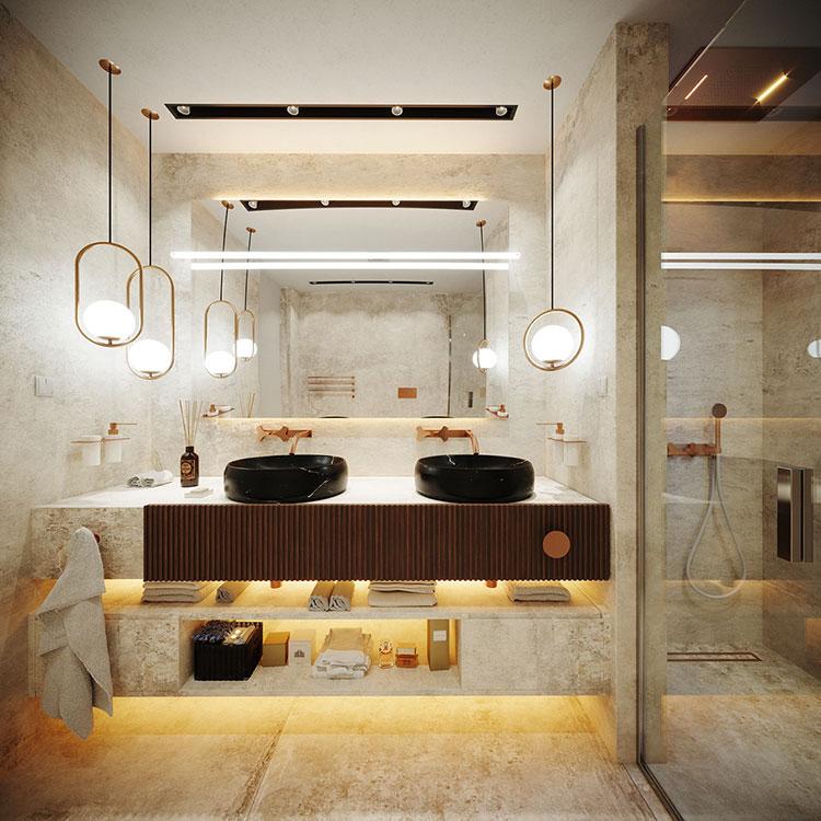 Foto della casa da sogno con interni di lusso in legno e pietra n.16