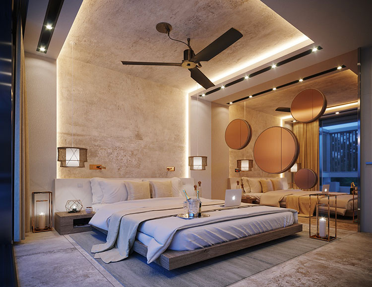 Foto della casa da sogno con interni di lusso in legno e pietra n.17