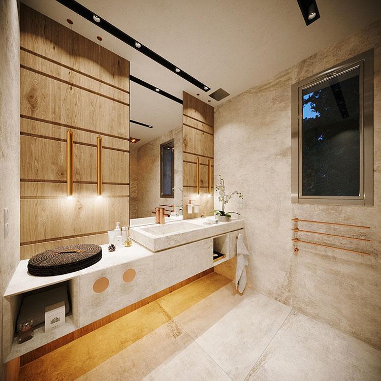 Foto della casa da sogno con interni di lusso in legno e pietra n.18