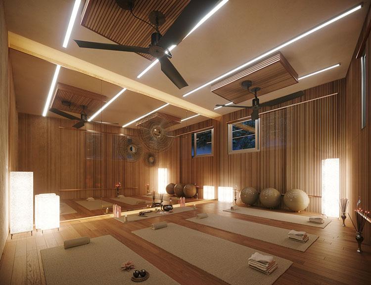 Foto della casa da sogno con interni di lusso in legno e pietra n.21
