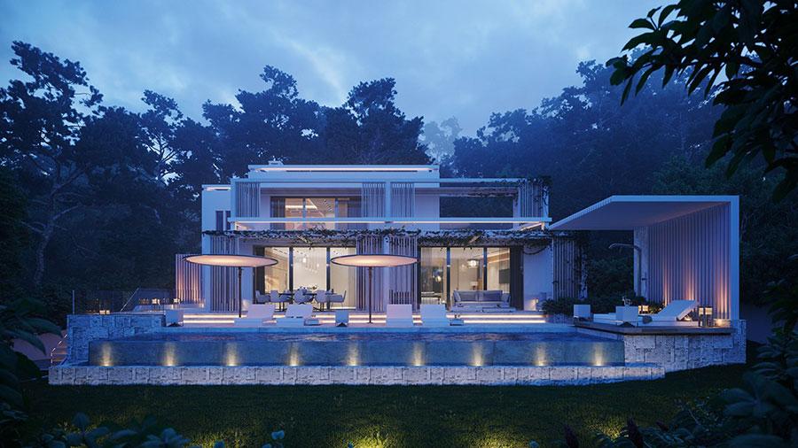 Foto della casa da sogno con interni di lusso in legno e pietra n.24