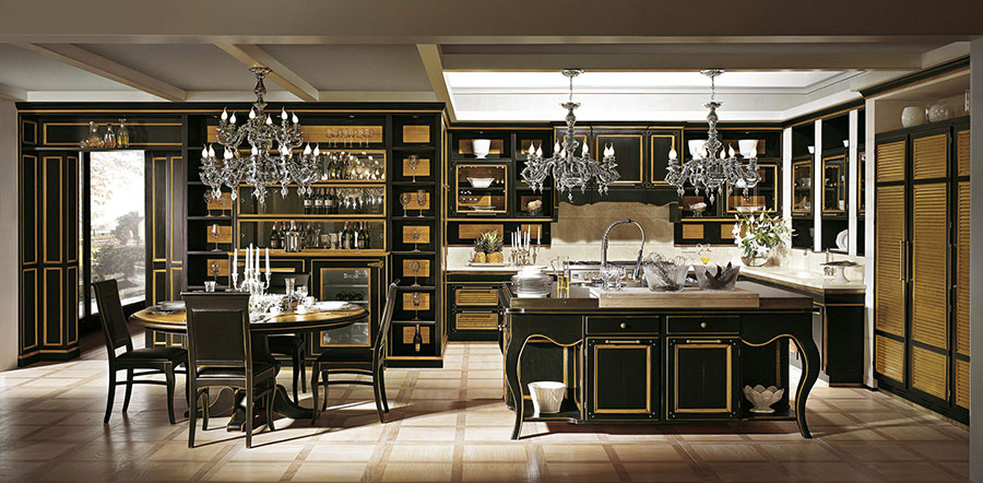 Modello di cucina classica con isola centrale de L'Ottocento n.01